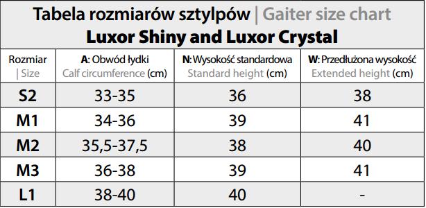 "Tabela rozmiarów sztylp Fair Play Luxor ""SHINY"""